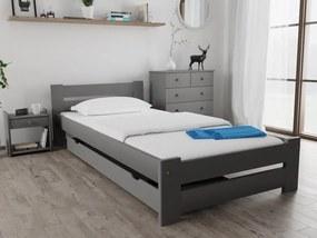Posteľ Ola 90 x 200 cm, sivá Rošt: Bez roštu, Matrac: Bez matrace