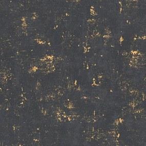 Vliesové tapety na stenu Trendwall 2307-82, rozmer 10,05 m x 0,53 m, omietkovina zlato-čierna, A.S. CRÉATION