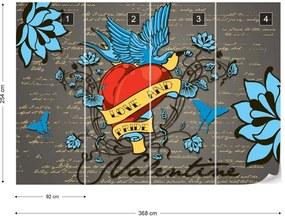 Fototapeta GLIX - Retro Style Valentine Tattoo + lepidlo ZADARMO Papírová tapeta  - 368x254 cm