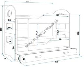Poschodová posteľ DOMINIK - 200x90cm Biely - Modrý
