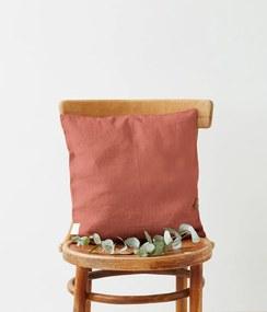 Marhuľovooranžová ľanová obliečka na vankúš Linen Tales, 45 x 45 cm
