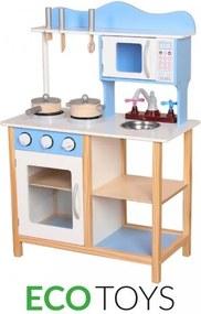 EcoToys Drevená kuchynka ELLA, príslušenstvo, TK040 modrá