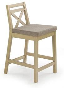 HALMAR Borys Low barová stolička dub sonoma / hnedá