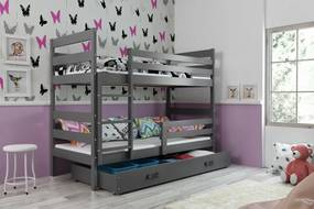 Poschodová posteľ ERIK 2 - 200x90cm - Grafitová - Grafitová