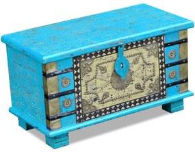 vidaXL Úložná truhlica z mangového dreva, modrá, 80x40x45 cm