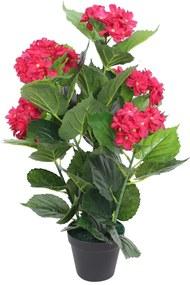 vidaXL Umelá rastlina, hortenzia s kvetináčom 60 cm, červená