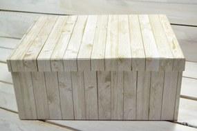 Ozdobná krabica s imitáciou dreva (35x27x15 cm)