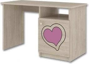 DO Písací stôl ružové gravírované srdcia