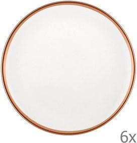 Sada 6 bielych porcelánových dezertných tanierov Mia Halos Bronze, ⌀ 19 cm