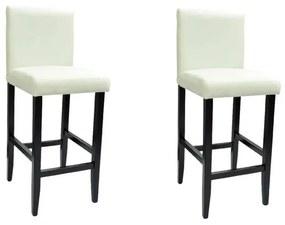 vidaXL Barové stoličky z umelej kože, 2 ks, biele