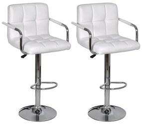 Barové stoličky s opierkami, 2 ks, biele