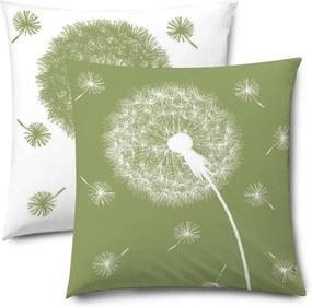 XPOSE® Obliečka na vankúš PÚPAVY DUO - zelená/biela 40x40 cm 2ks
