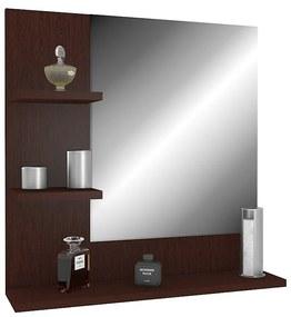 Nástenné zrkadlo wenge s policami ľavý variant