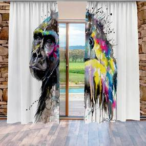 Záves Gorila art (Rozmer: 140x250, Materiál: Interlock)