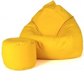 Aga Sedací vak XXXL + taburet Žltý