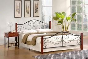 HALMAR Violetta 160 kovová manželská posteľ s roštom čerešňa antická / čierna