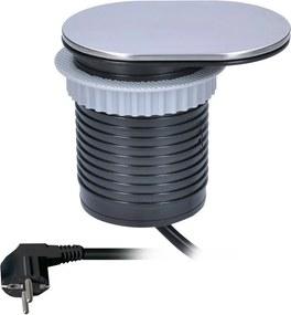 Solight Solight 1x vstavaná zásuvka + 1x USB s posuvným viečkom, oválny kryt z brúseného hliníka, predlžovací prívod 1,9 m, USB 2400mA