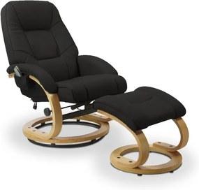 Polohovacie masážne kreslo s stoličkou MATADOR čierna Halmar