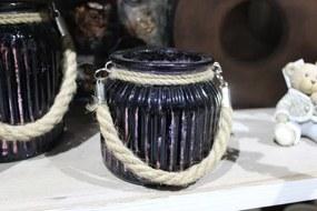 Fialový tmavý sklenený svietnik s lanom 10cm