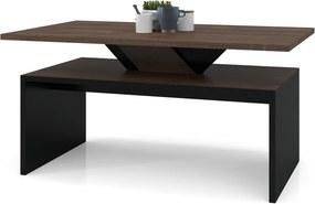 SISI hnedý dub / čierna, konferenčný stolík, moderný