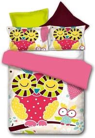 Obojstranné obliečky z mikrovlákna DecoKing Owls Funnystory, 135 × 200 cm