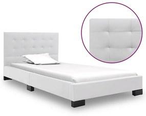 vidaXL Rám postele biely umelá koža 120x200 cm