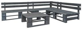 vidaXL 4-dielna záhradná sedacia súprava, palety, FSC drevo, sivá