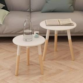 vidaXL Súprava 2 bielych odkladacích stolíkov, masívne borovicové drevo