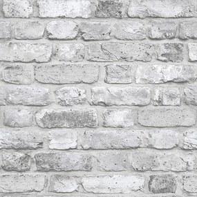Vliesové tapety, tehla bielo-sivá, Facade FC2503, GRANDECO, rozmer 10,05 m x 0,53 m