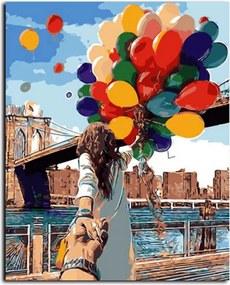"""Namaluj si obraz """"Pár s balónmi"""" 40x50cm"""