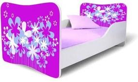 MAXMAX Detská posteľ KVETY FIALOVÉ + matrac ZADARMO