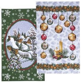 Vianočné utierky GULIČKY a KOSTOLÍK sada 2 ks