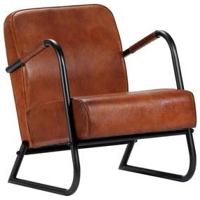 vidaXL Relaxačné kreslo hnedé pravá koža