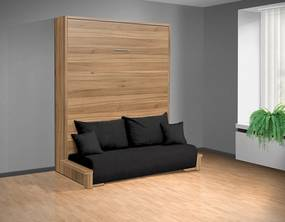 Nabytekmorava Sklápacia posteľ s pohovkou VS 3058P . 200x180 nosnost postele: štandardná nosnosť, farba lamina: buk 381, farba pohovky: Alova 04 čierna