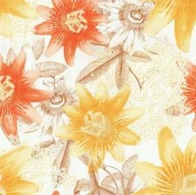 Vliesové tapety, kvety žlté, oranžové, hnedé, Guido Maria Kretschmer II 248850, P+S International, rozmer 10,05 m x 0,53 m