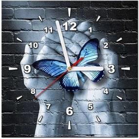 Tlačený obraz s hodinami Motýľ na dlaniach ZP2333A_1AI