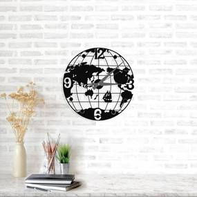 Čierne nástenné hodiny Globe Clock, ⌀ 50 cm