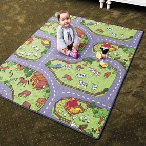 Vopi Detský koberec Farma II sivozelený, 80 x 120 cm