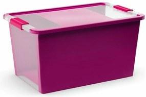 Úložný Bi box M, plastový  26 litrov priehľadný/fialový