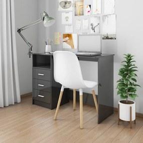 vidaXL Stôl so zásuvkami lesklý čierny 110x50x76 cm drevotrieska