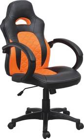 TEMPO KONDELA Nelson kancelárske kreslo s podrúčkami čierna / oranžová