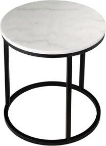 Mramorový odkladací stolík s čiernou konštrukciou RGE Accent, ⌀ 50 cm