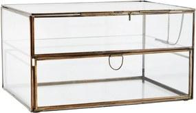 MADAM STOLTZ Dvojposchodový sklenený box so šuplíkom Antique Brass