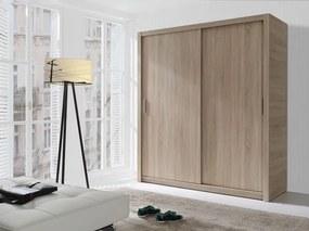 MEBLINE Moderná šatníková skriňa s posuvnými dverami LONDON 180 sonoma