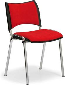 Konferenčná stolička SMART - chrómované nohy, bez podpierok rúk, červená
