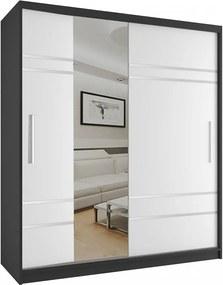Luxusná šatníková skriňa s bielymi posuvnými dverami s úzkym zrkadlom šírka 158 cm čierny korpus - Bez dojezdu