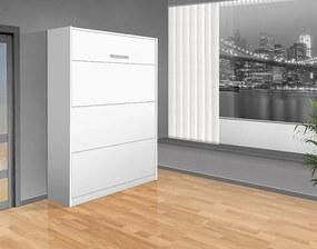 Nabytekmorava Sklápacia posteľ VS 1054 P - 200x160 cm A nosnost postele: štandardná nosnosť, farba lamina: biela 113