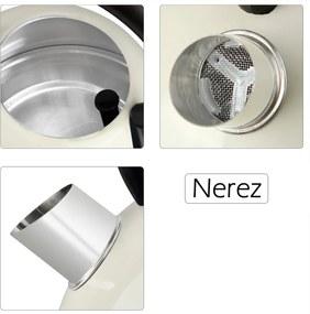 Jurhan & Co.KG Germany Rýchlovarná kanvica na vodu z ušľachtilej ocele s retro-dizajnom 1,8 litra – krémová farba JR05