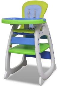 vidaXL Vysoká detská skladacia jedálenská stolička 3 v 1, modro zelená