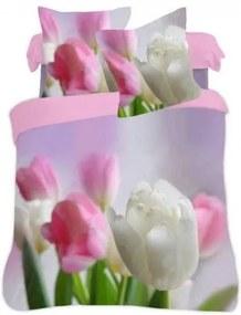 DR Posteľné obliečky 3D tulipány 140x200, 70x80